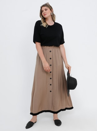 Mink - Unlined - Viscose - Plus Size Skirt - Alia