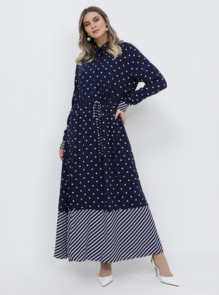 Navy Blue - Polka Dot - Stripe - Multi - Unlined - Point Collar - Viscose - Plus Size Dress - Alia