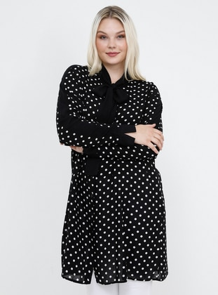 Black - Polka Dot - V neck Collar - Viscose - Plus Size Tunic