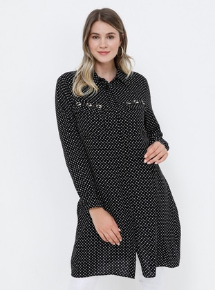 Black - White - Polka Dot - Point Collar - Crepe - Plus Size Tunic