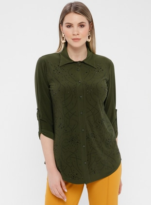 Khaki - Point Collar - Plus Size Blouse - GELİNCE