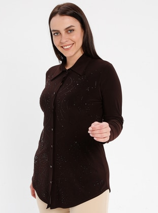 Brown - Point Collar - Plus Size Blouse