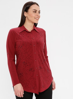 Dusty Rose - Point Collar - Plus Size Blouse