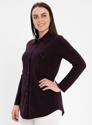 Plum - Point Collar - Plus Size Blouse - GELİNCE