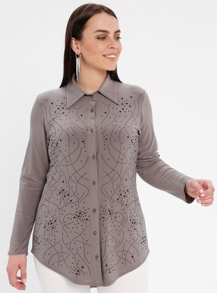 Minc - Point Collar - Plus Size Blouse - GELİNCE