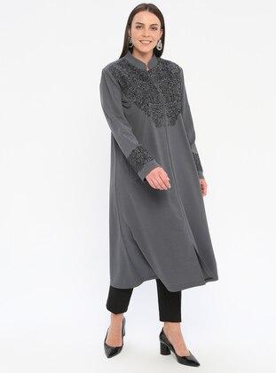Gray - Unlined - Crew neck - Plus Size Coat
