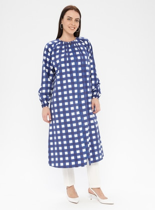 Blue - Checkered - Unlined - Crew neck - Plus Size Coat