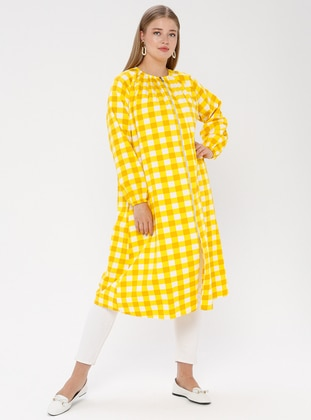 Yellow - Checkered - Crew neck - Unlined - Plus Size Abaya