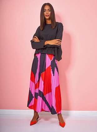 Multi - Geometric - Fully Lined - Skirt