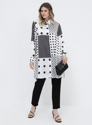 Black - White - Multi - Point Collar - Plus Size Tunic