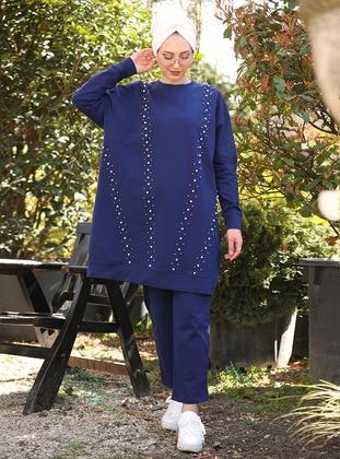 Navy Blue - Cotton - Suit