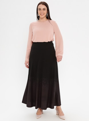 Plum - Half Lined - Viscose - Plus Size Skirt