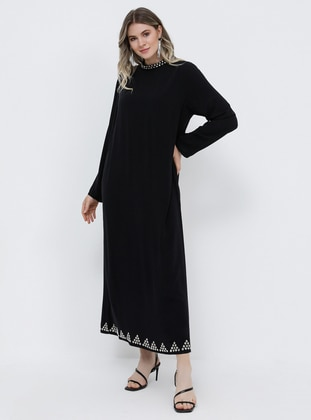 Black - Unlined - Polo neck - Muslim Plus Size Evening Dress - Alia