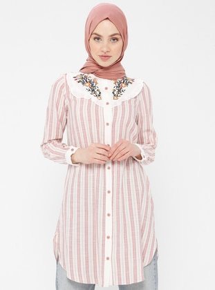 Powder - Stripe - Button Collar - Cotton - Tunic