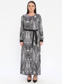 Gray - Multi - Unlined - Crew neck - Viscose - Plus Size Dress