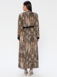 Brown - Multi - Unlined - Crew neck - Viscose - Plus Size Dress