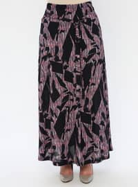 Pink - Multi - Half Lined - Viscose - Plus Size Skirt