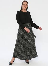 Black - Khaki - Multi - Half Lined - Viscose - Plus Size Skirt