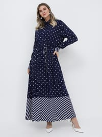Navy Blue - Polka Dot - Stripe - Multi - Unlined - Point Collar - Viscose - Plus Size Dress