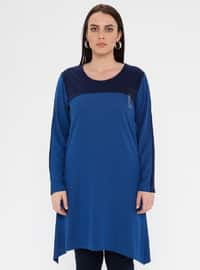 Navy Blue - Indigo - Crew neck - Viscose - Plus Size Tunic