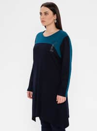 Navy Blue - Crew neck - Viscose - Plus Size Tunic