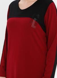 Black - Maroon - Crew neck - Viscose - Plus Size Tunic
