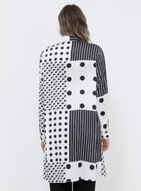 Black - White - Multi - Point Collar - Plus Size Tunic