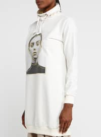 White - Ecru - Polo neck - Tunic