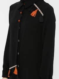 Black - Point Collar - Cotton - Tunic