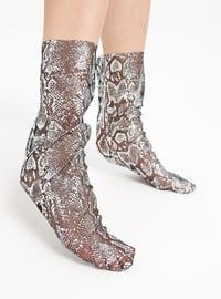 Black - Silver tone - Socks