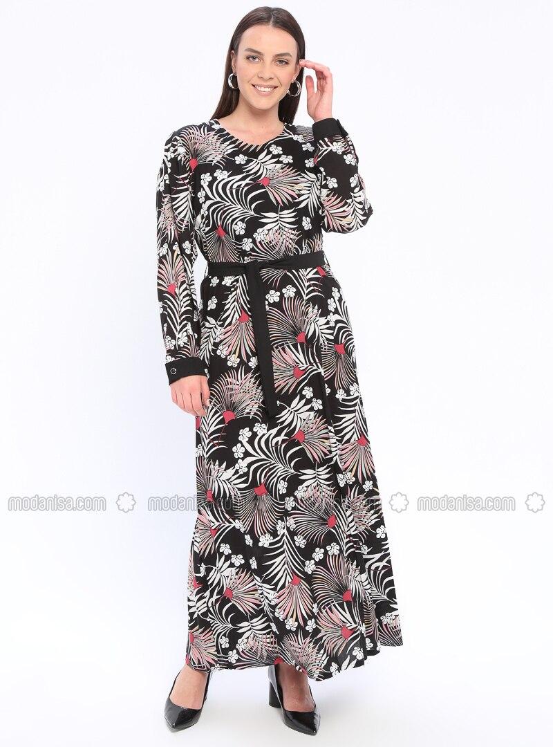 9b9caea35124f Black - Multi - Unlined - Crew neck - Viscose - Plus Size Dress. Fotoğrafı  büyütmek için tıklayın