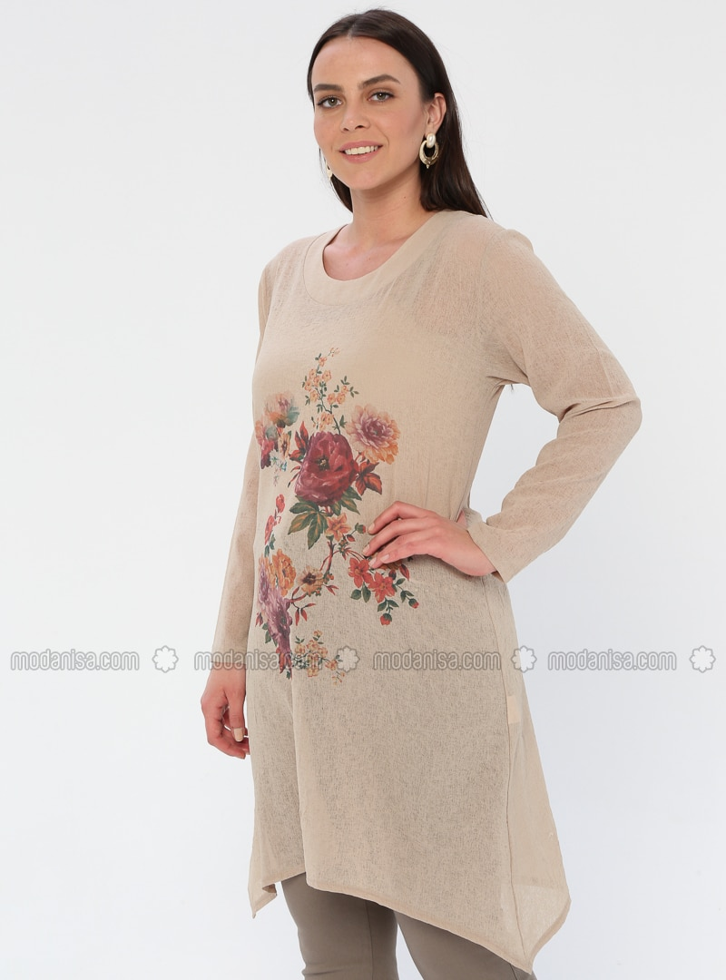 Beige - Floral - Crew neck - Viscose - Plus Size Tunic