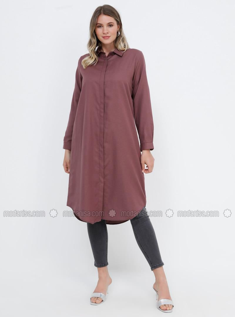 Purple - Point Collar - Cotton - Plus Size Tunic