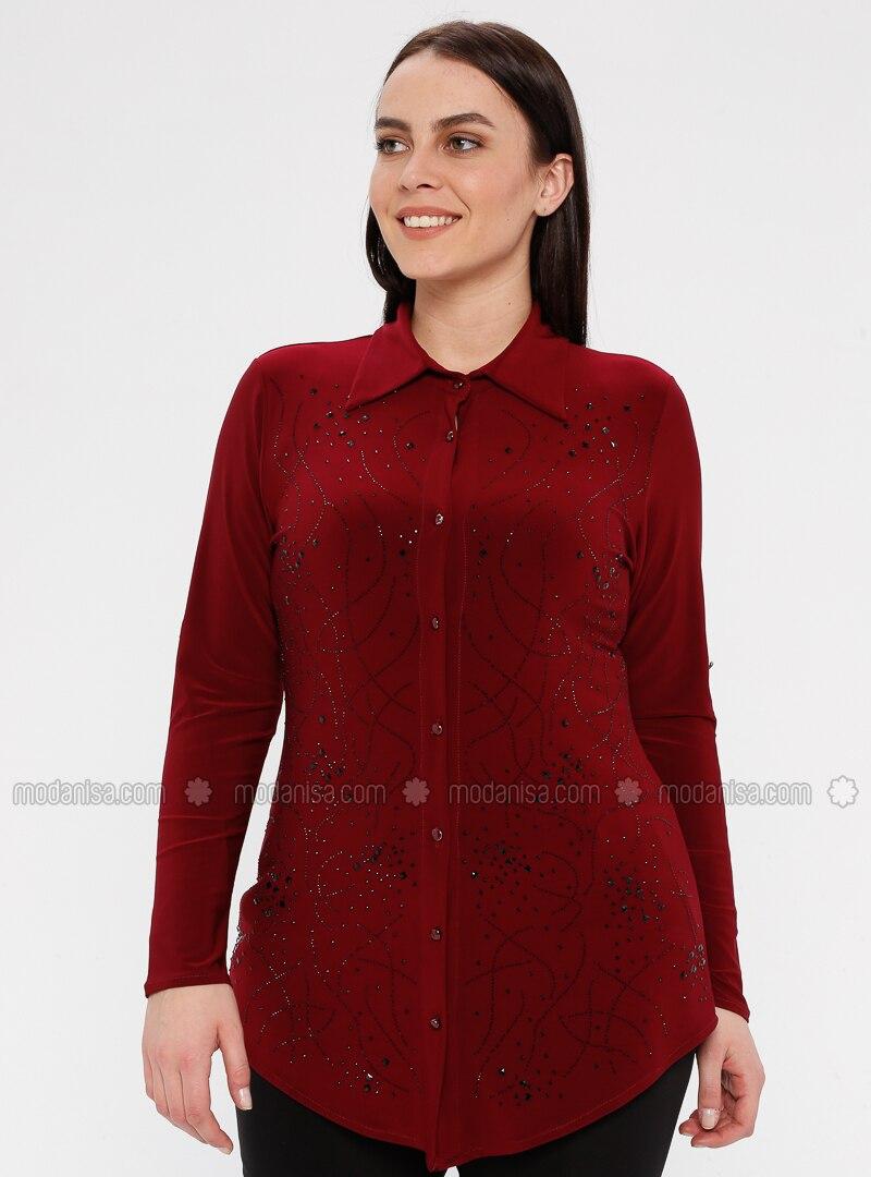 Maroon - Point Collar - Plus Size Blouse