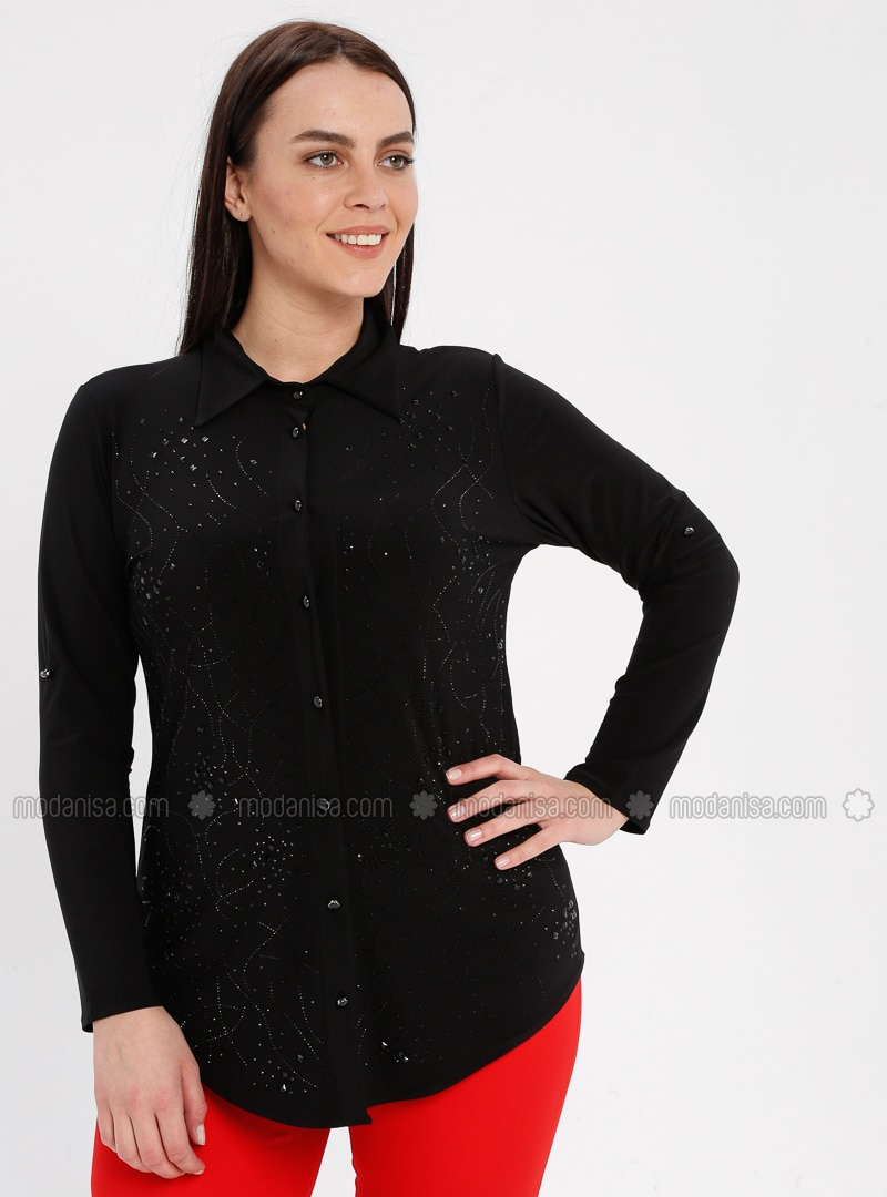 Black - Point Collar - Plus Size Blouse