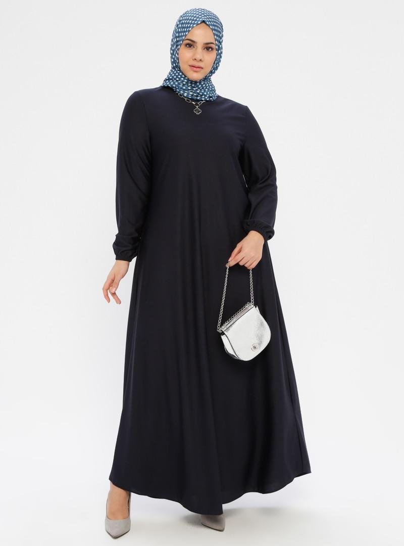 Tesettür Büyük Beden Elbise ECESUN Lacivert Kadın 52