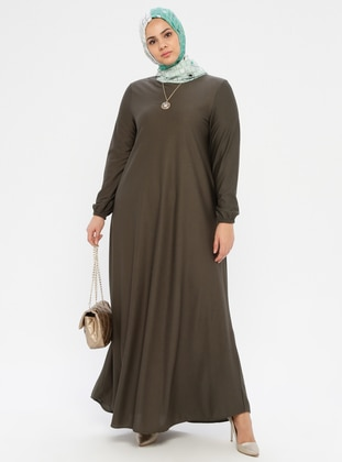 Khaki - Unlined - Crew neck - Plus Size Dress - ECESUN