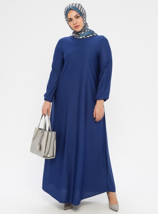 Indigo - Unlined - Crew neck - Plus Size Dress - ECESUN