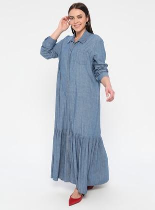 Blue - Unlined - Point Collar - Cotton - Denim - Plus Size Dress