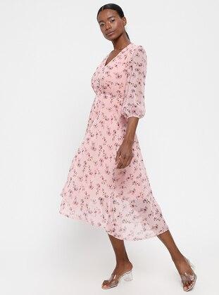 Powder - Multi - V neck Collar - Fully Lined - Dress