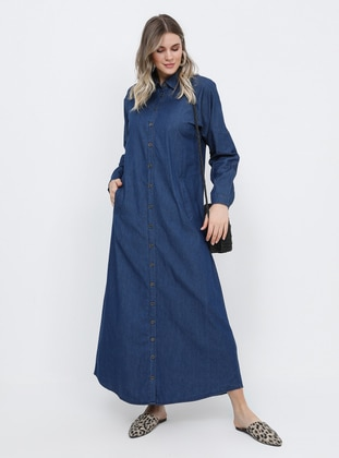 Navy Blue - Unlined - Point Collar - Cotton - Denim - Plus Size Dress
