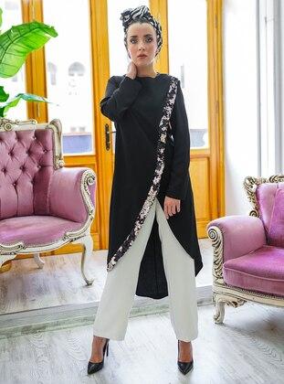 Black - Silver tone - Unlined - Suit