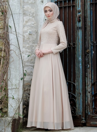 Camel - Fully Lined - Crew neck - Muslim Evening Dress