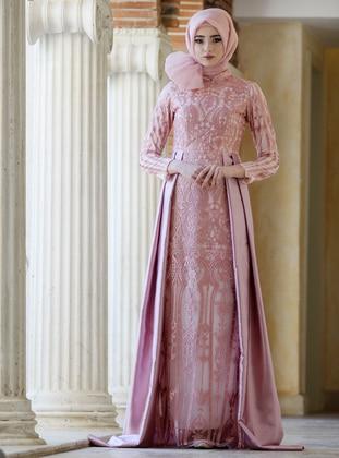 Powder - Multi - Fully Lined - Crew neck - Muslim Evening Dress