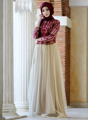 Maroon - Cream - Multi - Fully Lined - Crew neck - Muslim Evening Dress