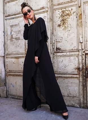 Black - Unlined - Crew neck - Jumpsuit - Gizem Kış