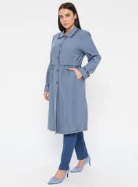 Blue - Unlined - Point Collar - Plus Size Coat