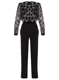 Black - Leopard - Unlined - V neck Collar - Chiffon - Jumpsuit