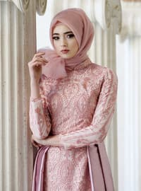 Powder - Multi - Fully Lined - Crew neck - Muslim Evening Dress