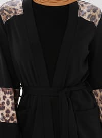 Black - Leopard - Shawl Collar - Cotton - Cardigan